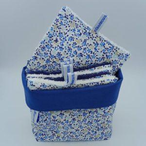 Panier BB bleu 7 Débarbouillettes 502 Marraine la Fée