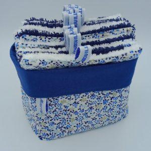 Panier luxe BB bleu 14 Débarbouillettes 502 Marraine la Fée